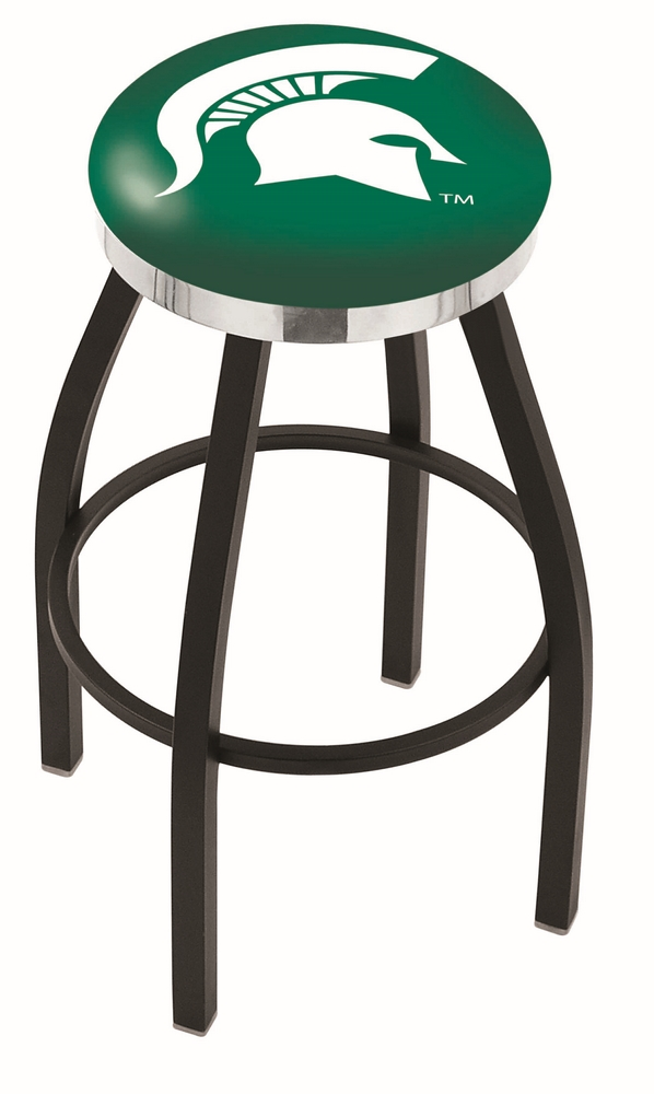 "Michigan State Spartans (L8B2C) 25"""" Tall Logo Bar Stool by Holland Bar Stool Company (with Single Ring Swivel Black Solid Welded Base)"" HBS-HBS25L8B2C-MICHIGANSTATEUNIVERSITY"
