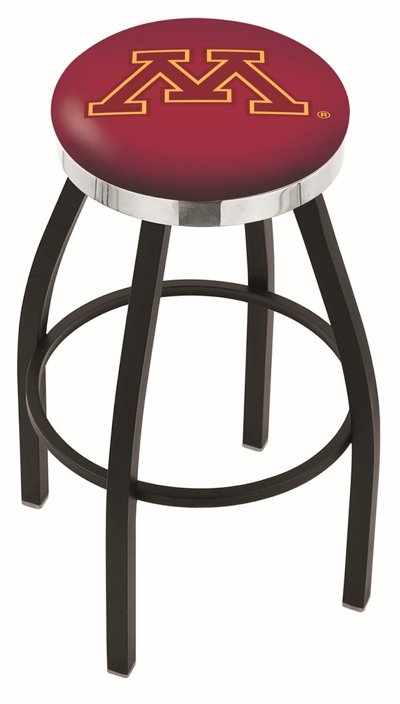 "Minnesota Golden Gophers (L8B2C) 25"""" Tall Logo Bar Stool by Holland Bar Stool Company (with Single Ring Swivel Black Solid Welded Base)"" HBS-HBS25L8B2C-UNIVERSITYOFMINNESOTA"