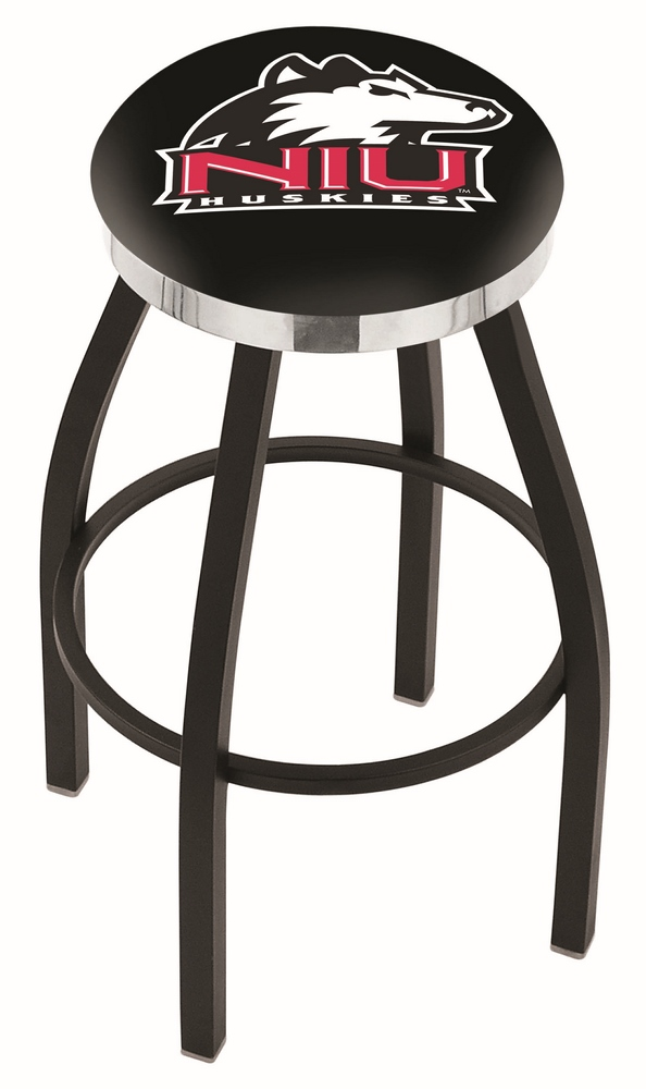 "Northern Illinois Huskies (L8B2C) 25"""" Tall Logo Bar Stool by Holland Bar Stool Company (with Single Ring Swivel Black Solid Welded Base)"" HBS-HBS25L8B2C-NORTHERNILLINOISUNIVERSITY"