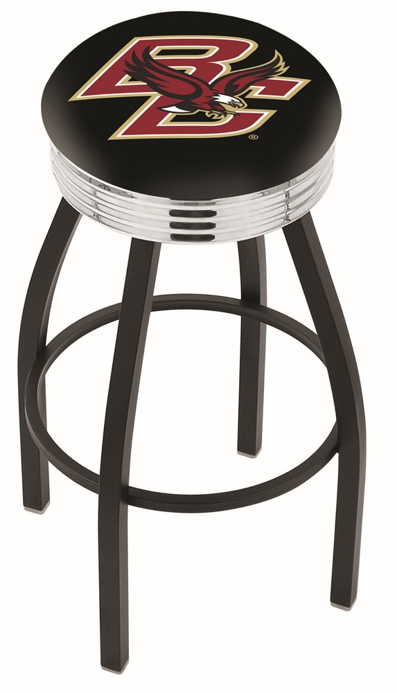 "Boston College Eagles (L8B3C) 25"" Tall Logo Bar Stool by Holland Bar Stool Company (with Single Ring Swivel Black S"