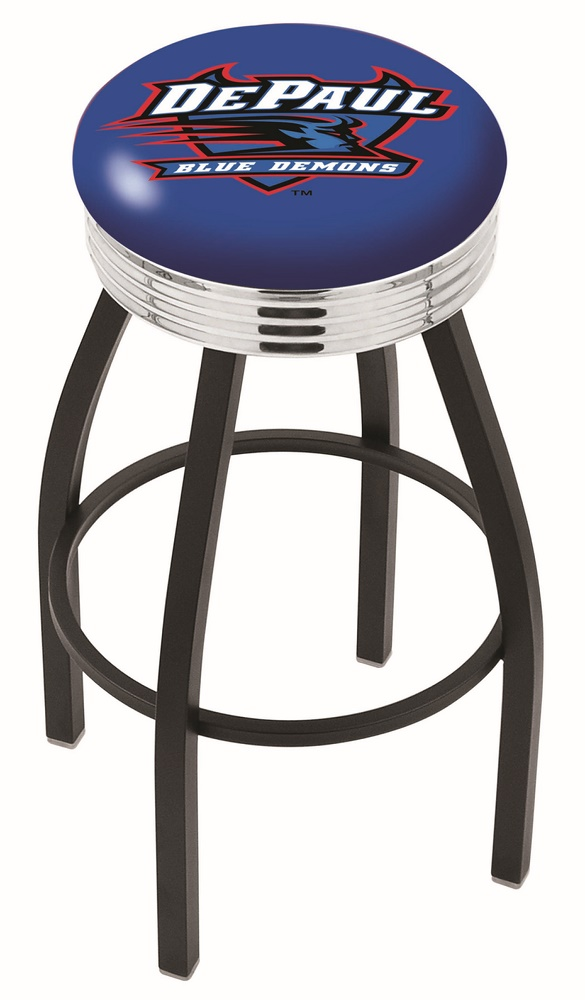 "DePaul Blue Demons (L8B3C) 25"""" Tall Logo Bar Stool by Holland Bar Stool Company (with Single Ring Swivel Black Solid Welded Base)"" HBS-HBS25L8B3C-DEPAULUNIVERSITY"