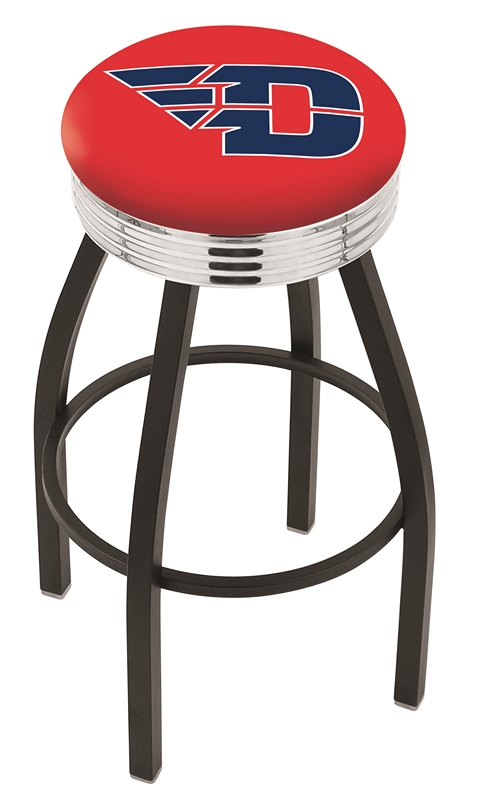 "Dayton Flyers (L8B3C) 25"""" Tall Logo Bar Stool by Holland Bar Stool Company (with Single Ring Swivel Black Solid Welded Base)"" HBS-HBS25L8B3C-UNIVERSITYOFDAYTON"