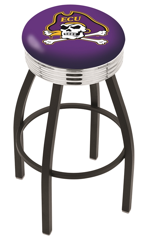 "East Carolina Pirates (L8B3C) 25"""" Tall Logo Bar Stool by Holland Bar Stool Company (with Single Ring Swivel Black Solid Welded Base)"" HBS-HBS25L8B3C-EASTCAROLINAUNIVERSITY"