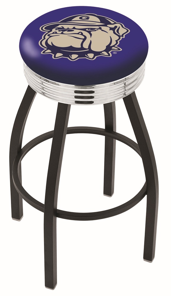 "Georgetown Hoyas (L8B3C) 25"""" Tall Logo Bar Stool by Holland Bar Stool Company (with Single Ring Swivel Black Solid Welded Base)"" HBS-HBS25L8B3C-GEORGETOWNUNIVERSITY"