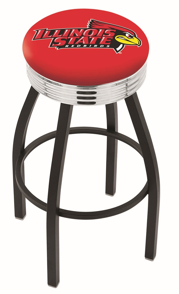 "Illinois State Redbirds (L8B3C) 25"""" Tall Logo Bar Stool by Holland Bar Stool Company (with Single Ring Swivel Black Solid Welded Base)"" HBS-HBS25L8B3C-ILLINOISSTATEUNIVERSITY"