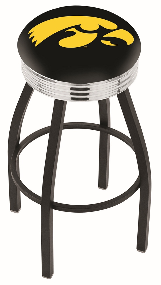 "Iowa Hawkeyes (L8B3C) 25"""" Tall Logo Bar Stool by Holland Bar Stool Company (with Single Ring Swivel Black Solid Welded Base)"" HBS-HBS25L8B3C-UNIVERSITYOFIOWA"