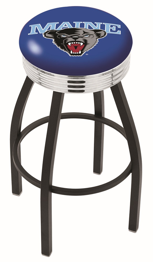 """Maine Black Bears (L8B3C) 25"""""""" Tall Logo Bar Stool by Holland Bar Stool Company (with Single Ring Swivel Black Solid Welded Base)"""" HBS-HBS25L8B3C-UNIVERSITYOFMAINE"""