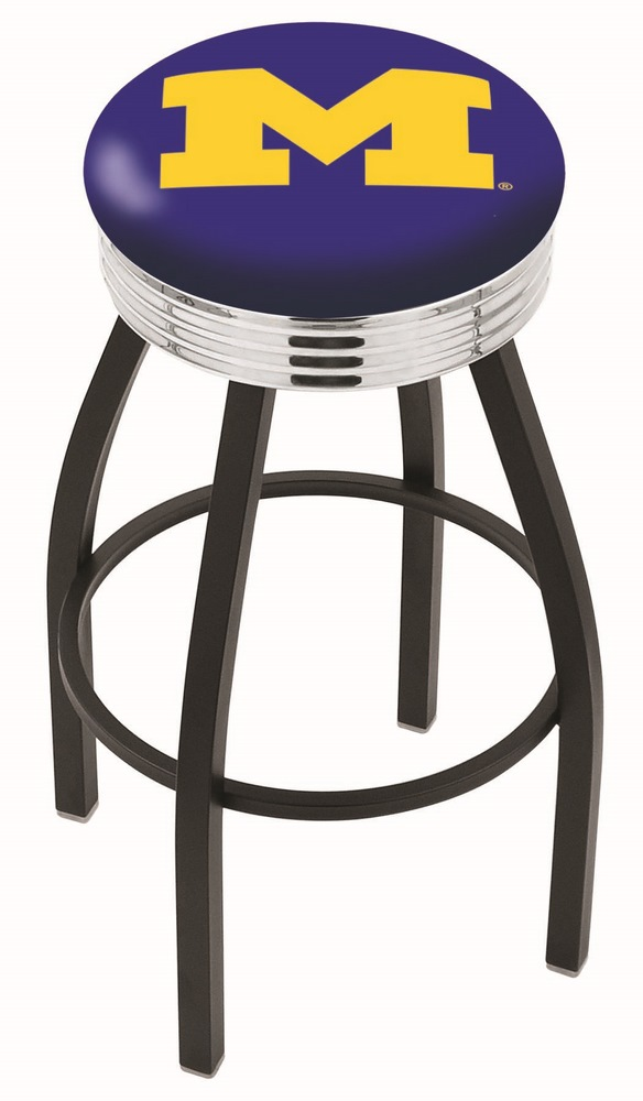 "Michigan Wolverines (L8B3C) 25"""" Tall Logo Bar Stool by Holland Bar Stool Company (with Single Ring Swivel Black Solid Welded Base)"" HBS-HBS25L8B3C-UNIVERSITYOFMICHIGAN"
