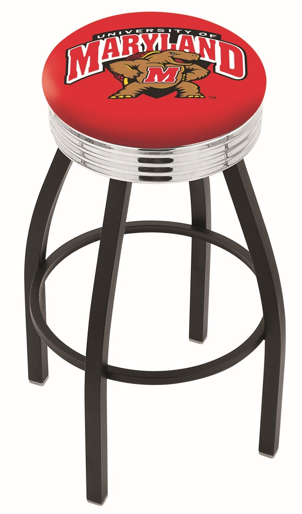 """Maryland Terrapins (L8B3C) 25"""""""" Tall Logo Bar Stool by Holland Bar Stool Company (with Single Ring Swivel Black Solid Welded Base)"""" HBS-HBS25L8B3C-UNIVERSITYOFMARYLAND"""