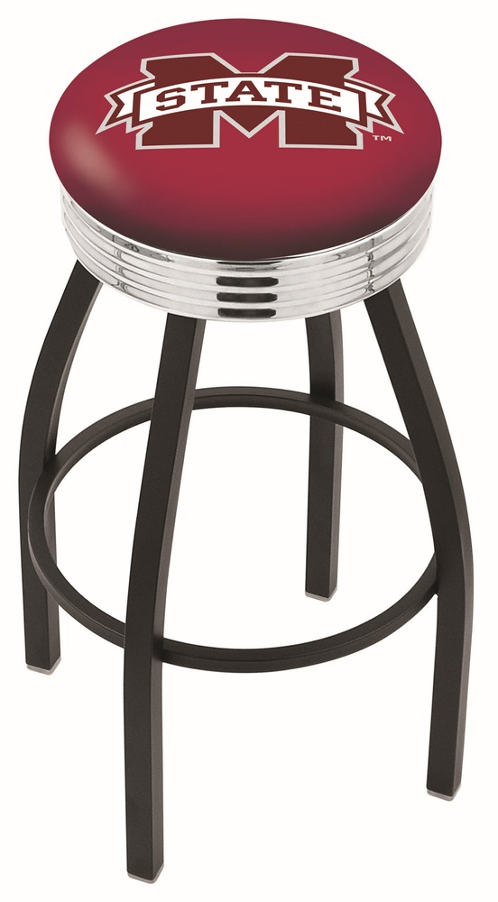 "Mississippi State Bulldogs (L8B3C) 25"""" Tall Logo Bar Stool by Holland Bar Stool Company (with Single Ring Swivel Black Solid Welded Base)"" HBS-HBS25L8B3C-MISSISSIPPISTATEUNIVERSITY"
