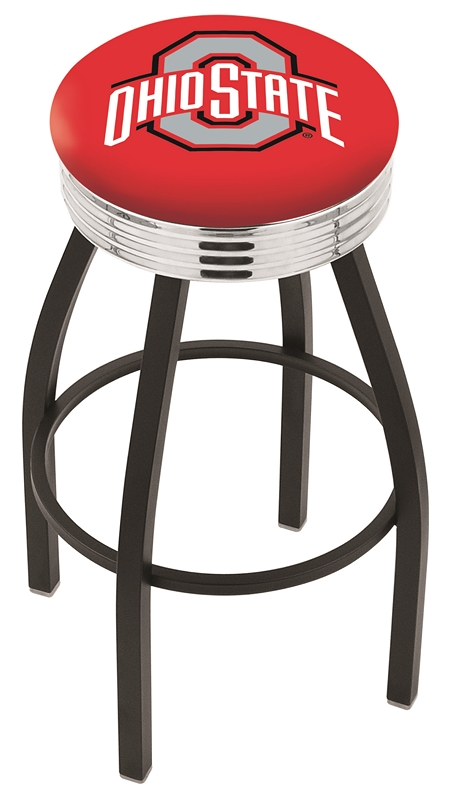 """Ohio State Buckeyes (L8B3C) 25"""""""" Tall Logo Bar Stool by Holland Bar Stool Company (with Single Ring Swivel Black Solid Welded Base)"""" HBS-HBS25L8B3C-THEOHIOSTATEUNIVERSITY"""