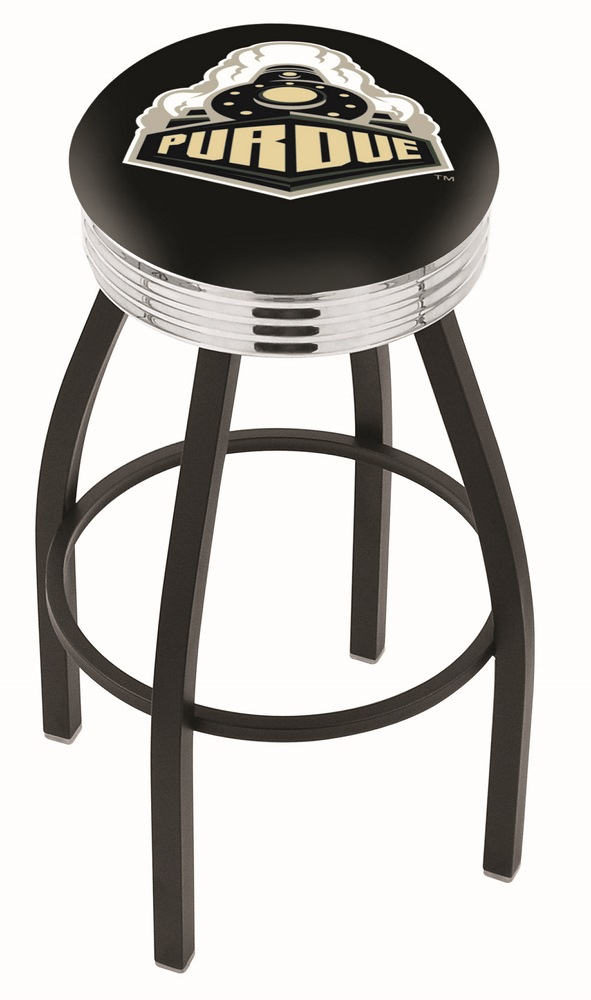 "Purdue Boilermakers (L8B3C) 25"""" Tall Logo Bar Stool by Holland Bar Stool Company (with Single Ring Swivel Black Solid Welded Base)"" HBS-HBS25L8B3C-PURDUEUNIVERSITY"