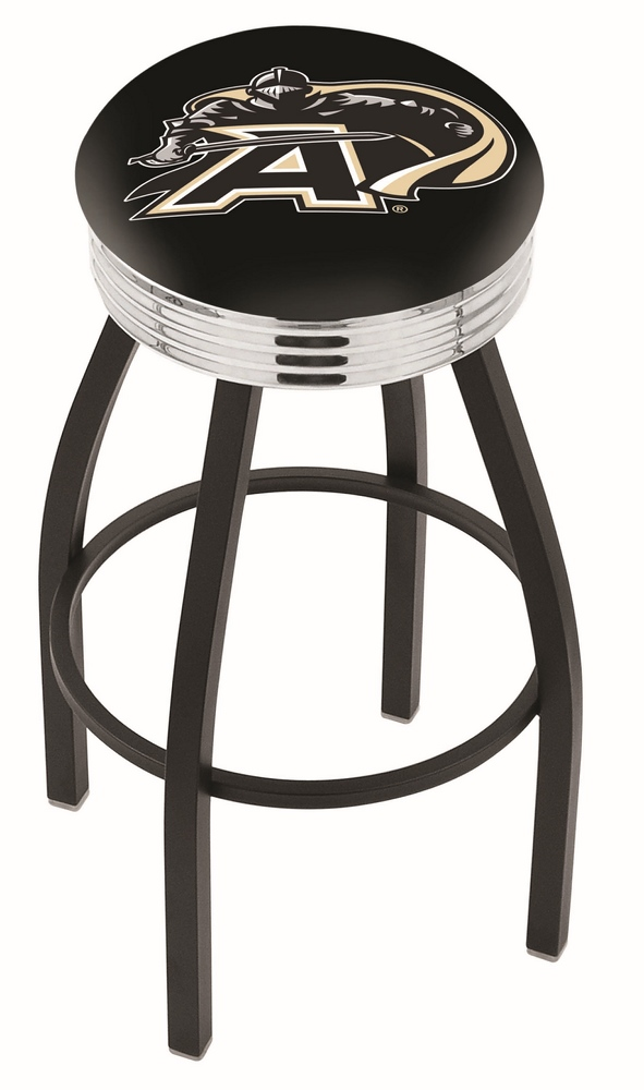 "Army Black Knights (L8B3C) 25"""" Tall Logo Bar Stool by Holland Bar Stool Company (with Single Ring Swivel Black Solid Welded Base)"" HBS-HBS25L8B3C-UNITEDSTATESMILITARYACADEMY"