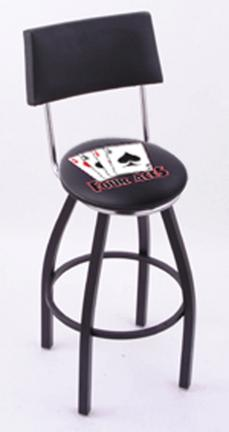"""4 Aces (L8B4) 25"""" Tall Logo Bar Stool by Holland Bar Stool Company (with Single Ring Swivel Black Solid Welded Base"""