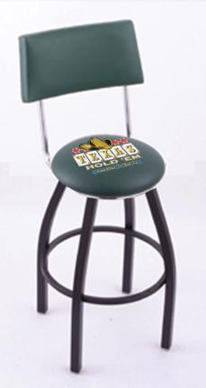 "Texas Hold Em (L8B4) 25"" Tall Logo Bar Stool by Holland Bar Stool Company (with Single Ring Swivel Black Solid Weld"