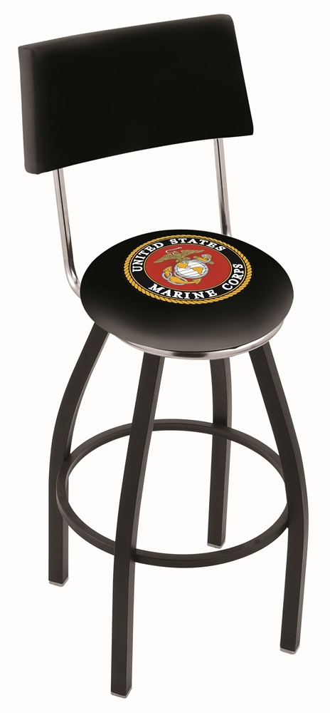 "US Marines (L8B4) 25"" Tall Logo Bar Stool by Holland Bar Stool Company (with Single Ring Swivel Black Solid Welded Base and Chair Seat Back)"