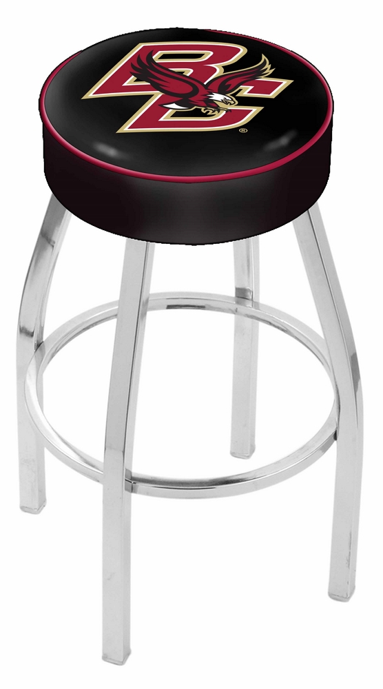 """Boston College Eagles (L8C1) 30"""" Tall Logo Bar Stool by Holland Bar Stool Company (with Single Ring Swivel Chrome S"""