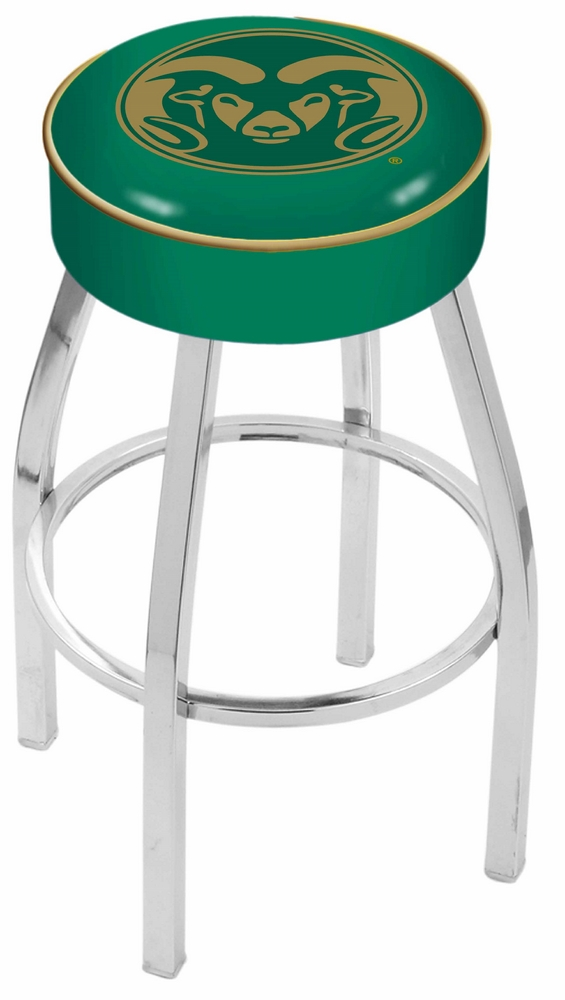 "Colorado State Rams (L8C1) 25"""" Tall Logo Bar Stool by Holland Bar Stool Company (with Single Ring Swivel Chrome Solid Welded Base)"" HBS-HBS25L8C1-COLORADOSTATEUNIVERSITY"