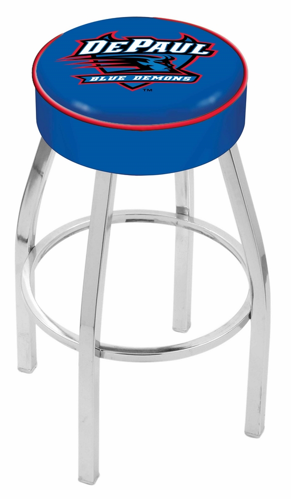 "DePaul Blue Demons (L8C1) 25"""" Tall Logo Bar Stool by Holland Bar Stool Company (with Single Ring Swivel Chrome Solid Welded Base)"" HBS-HBS25L8C1-DEPAULUNIVERSITY"