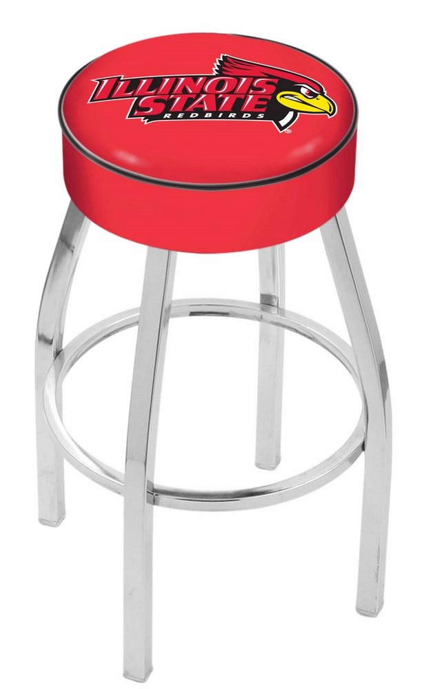 "Illinois State Redbirds (L8C1) 25"""" Tall Logo Bar Stool by Holland Bar Stool Company (with Single Ring Swivel Chrome Solid Welded Base)"" HBS-HBS25L8C1-ILLINOISSTATEUNIVERSITY"