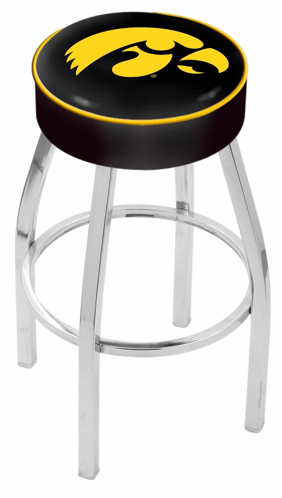 "Iowa Hawkeyes (L8C1) 30"" Tall Logo Bar Stool by Holland Bar Stool Company (with Single Ring Swivel Chrome Solid Wel"
