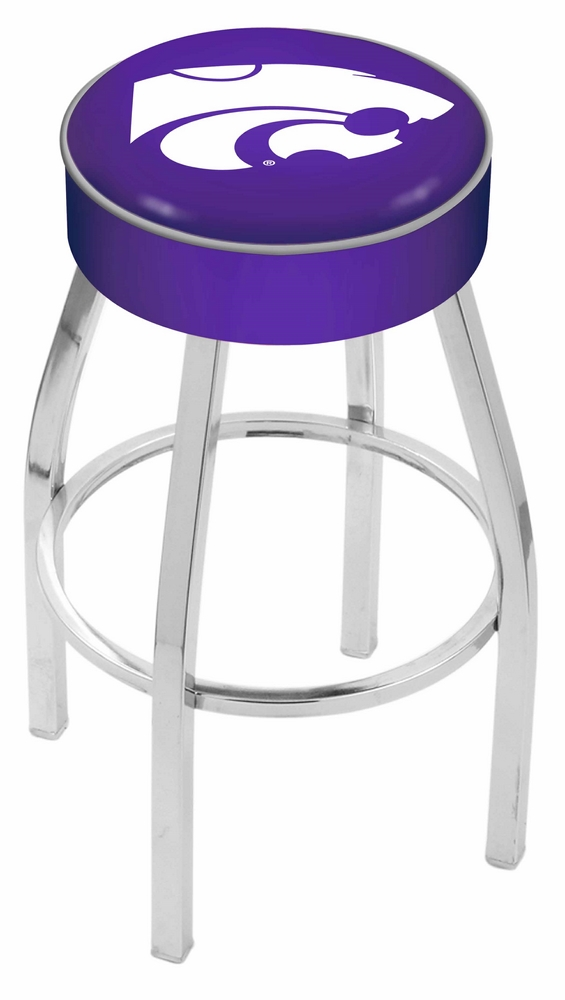 "Kansas State Wildcats (L8C1) 25"""" Tall Logo Bar Stool by Holland Bar Stool Company (with Single Ring Swivel Chrome Solid Welded Base)"" HBS-HBS25L8C1-KANSASSTATEUNIVERSITY"