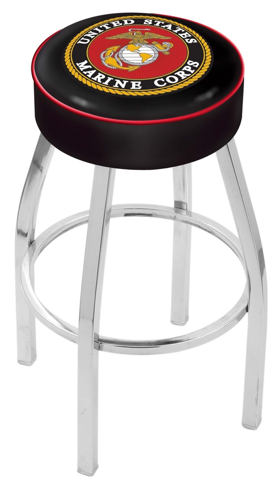"US Marines (L8C1) 25"" Tall Logo Bar Stool by Holland Bar Stool Company (with Single Ring Swivel Chrome Solid Welded Base)"