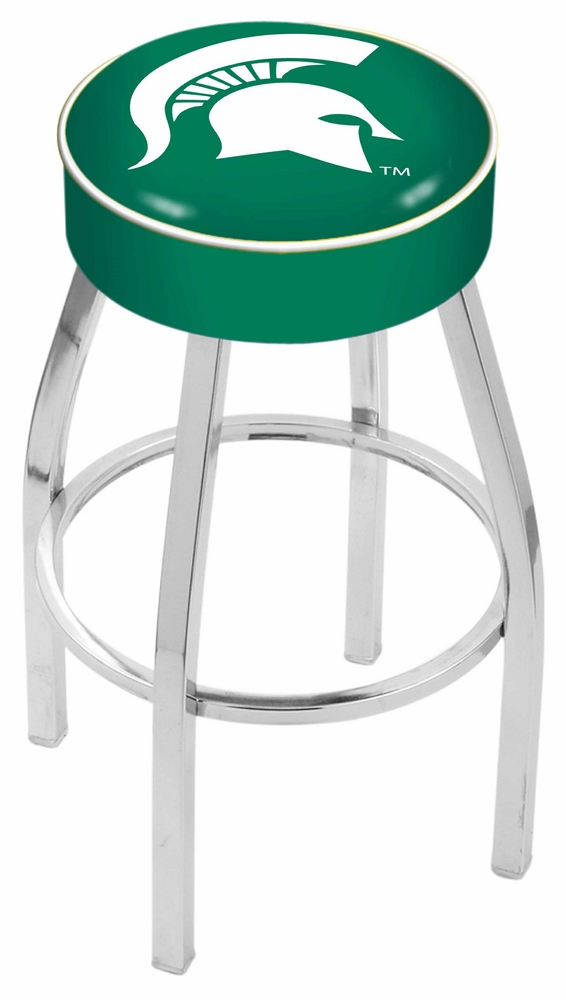 "Michigan State Spartans (L8C1) 25"""" Tall Logo Bar Stool by Holland Bar Stool Company (with Single Ring Swivel Chrome Solid Welded Base)"" HBS-HBS25L8C1-MICHIGANSTATEUNIVERSITY"