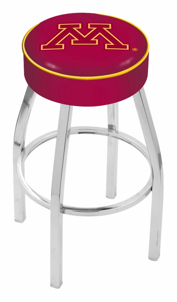 "Minnesota Golden Gophers (L8C1) 25"""" Tall Logo Bar Stool by Holland Bar Stool Company (with Single Ring Swivel Chrome Solid Welded Base)"" HBS-HBS25L8C1-UNIVERSITYOFMINNESOTA"