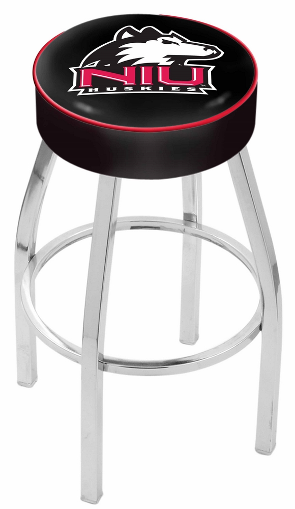 "Northern Illinois Huskies (L8C1) 25"""" Tall Logo Bar Stool by Holland Bar Stool Company (with Single Ring Swivel Chrome Solid Welded Base)"" HBS-HBS25L8C1-NORTHERNILLINOISUNIVERSITY"