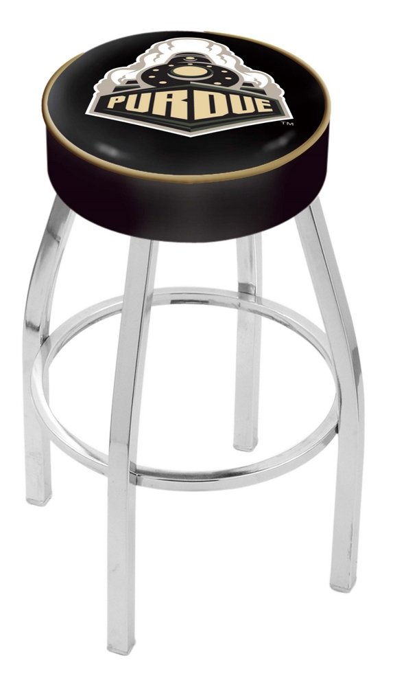 "Purdue Boilermakers (L8C1) 25"" Tall Logo Bar Stool by Holland Bar Stool Company (with Single Ring Swivel Chrome Sol"