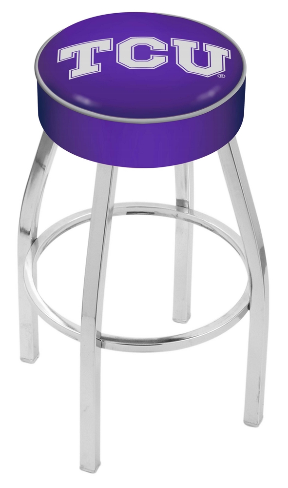 "Texas Christian Horned Frogs (L8C1) 25"""" Tall Logo Bar Stool by Holland Bar Stool Company (with Single Ring Swivel Chrome Solid Welded Base)"" HBS-HBS25L8C1-TEXASCHRISTIANUNIVERSITY"