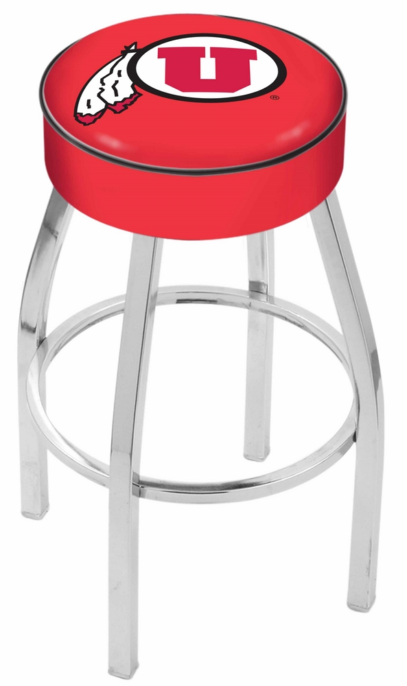 """Utah Utes (L8C1) 25"""" Tall Logo Bar Stool by Holland Bar Stool Company (with Single Ring Swivel Chrome Solid Welded"""