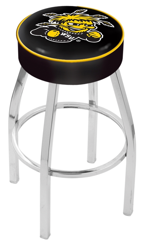 "Wichita State Shockers (L8C1) 25"""" Tall Logo Bar Stool by Holland Bar Stool Company (with Single Ring Swivel Chrome Solid Welded Base)"" HBS-HBS25L8C1-WICHITASTATEUNIVERSITY"