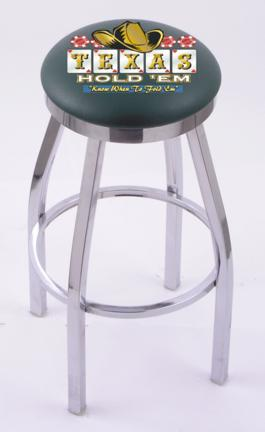 """Texas Hold Em (L8C2C) 30"""" Tall Logo Bar Stool by Holland Bar Stool Company (with Single Ring Swivel Chrome Solid We"""