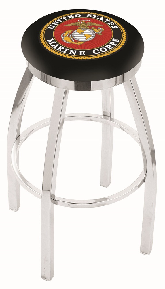 "US Marines (L8C2C) 25"" Tall Logo Bar Stool by Holland Bar Stool Company (with Single Ring Swivel Chrome Solid Welde"