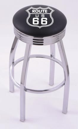 """Route 66 (L8C3C) 30"""" Tall Logo Bar Stool by Holland Bar Stool Company (with Single Ring Swivel Chrome Solid Welded"""