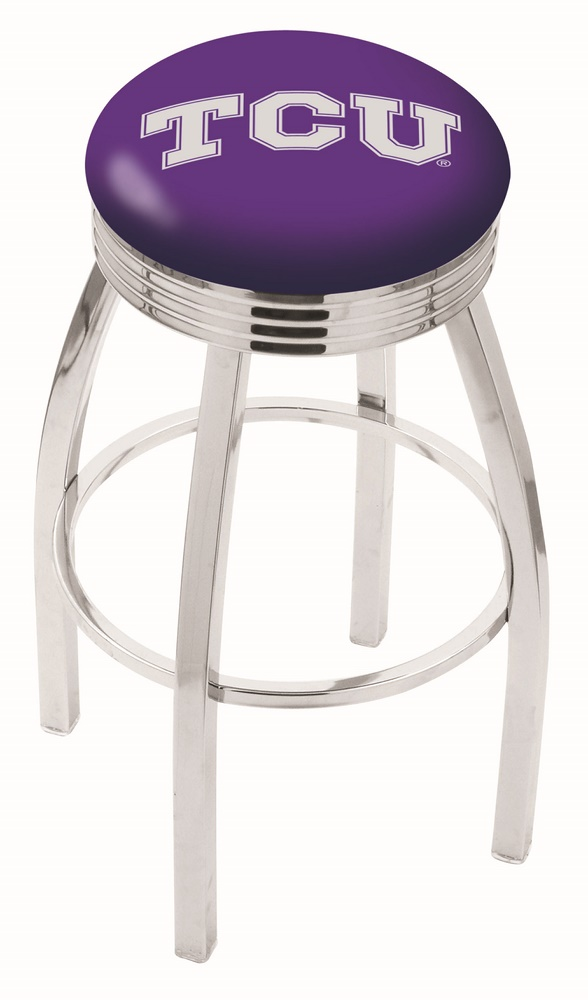 "Texas Christian Horned Frogs (L8C3C) 25"""" Tall Logo Bar Stool by Holland Bar Stool Company (with Single Ring Swivel Chrome Solid Welded Base)"" HBS-HBS25L8C3C-TEXASCHRISTIANUNIVERSITY"