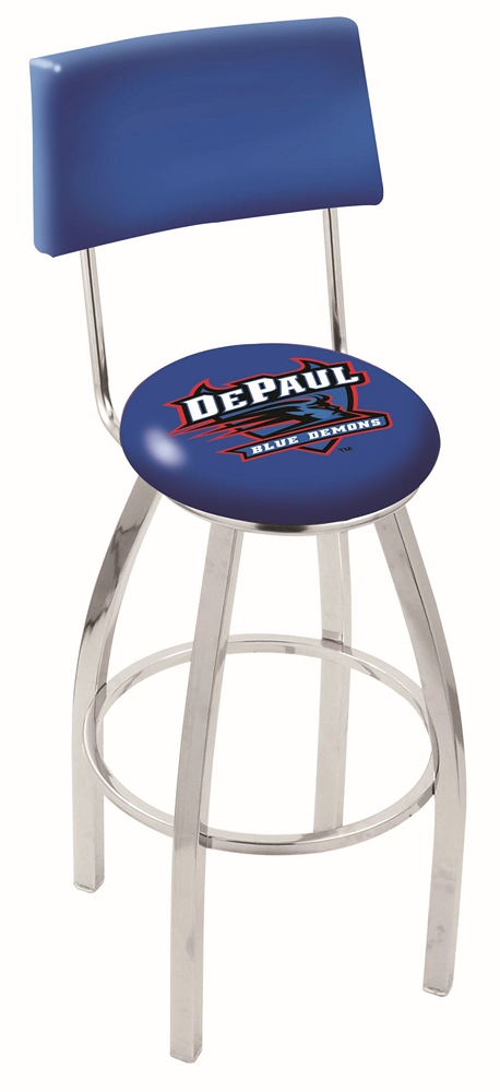 "DePaul Blue Demons (L8C4) 25"""" Tall Logo Bar Stool by Holland Bar Stool Company (with Single Ring Swivel Chrome Solid Welded Base and Chair Seat Back)"" HBS-HBS25L8C4-DEPAULUNIVERSITY"