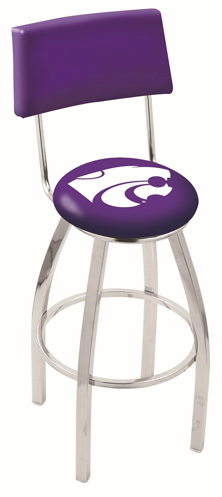 "Kansas State Wildcats (L8C4) 25"""" Tall Logo Bar Stool by Holland Bar Stool Company (with Single Ring Swivel Chrome Solid Welded Base and Chair Seat Back)"" HBS-HBS25L8C4-KANSASSTATEUNIVERSITY"