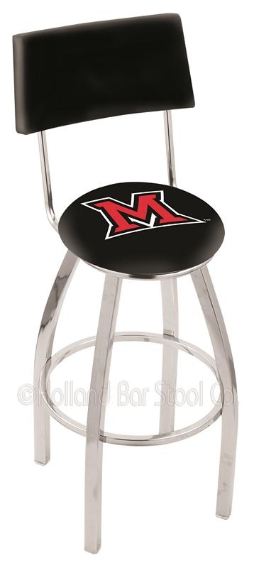 "Miami (Ohio) RedHawks (L8C4) 30"" Tall Logo Bar Stool by Holland Bar Stool Company (with Single Ring Swivel Chrome S"