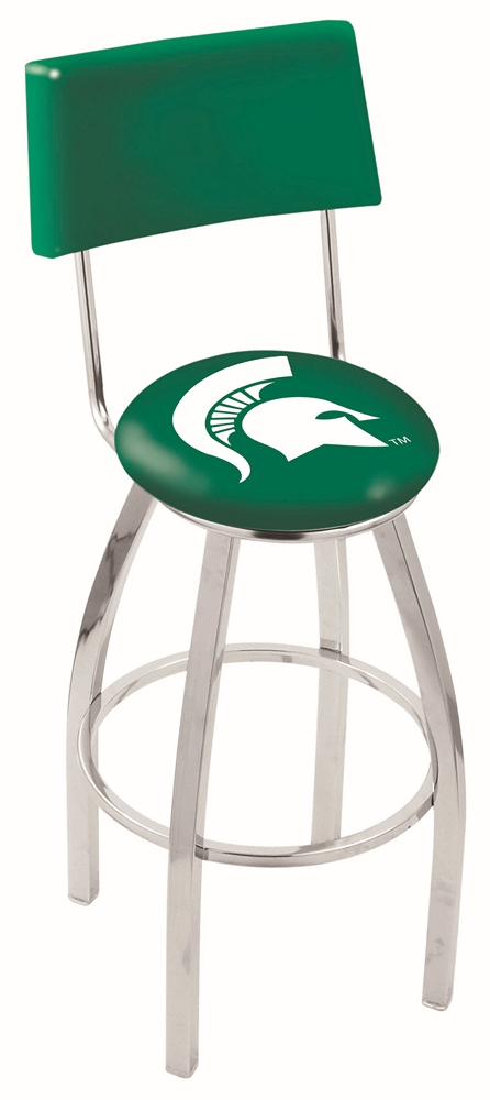 "Michigan State Spartans (L8C4) 25"""" Tall Logo Bar Stool by Holland Bar Stool Company (with Single Ring Swivel Chrome Solid Welded Base and Chair Seat Back)"" HBS-HBS25L8C4-MICHIGANSTATEUNIVERSITY"