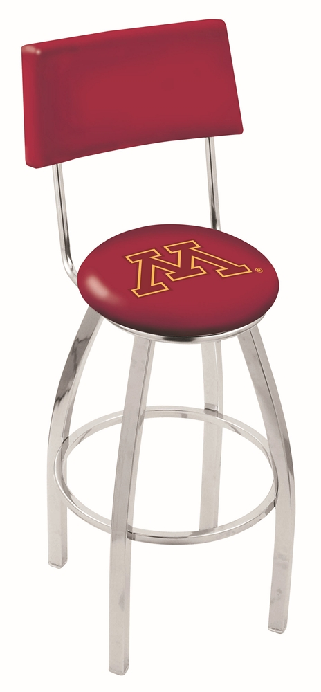 "Minnesota Golden Gophers (L8C4) 25"""" Tall Logo Bar Stool by Holland Bar Stool Company (with Single Ring Swivel Chrome Solid Welded Base and Chair Seat Back)"" HBS-HBS25L8C4-UNIVERSITYOFMINNESOTA"