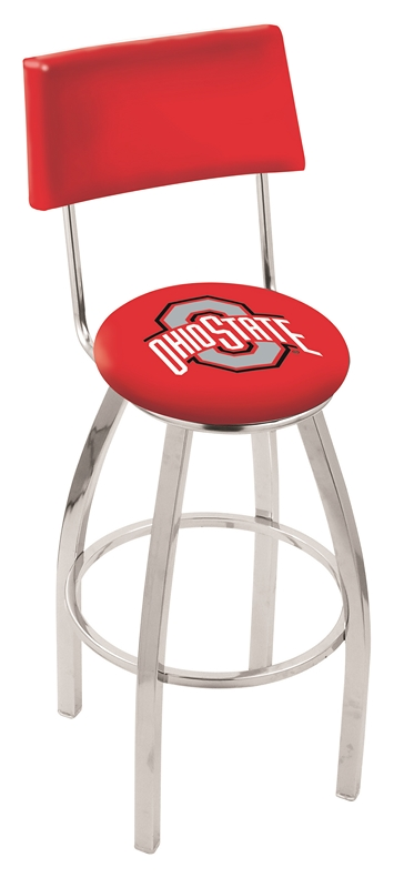 """Ohio State Buckeyes (L8C4) 25"""""""" Tall Logo Bar Stool by Holland Bar Stool Company (with Single Ring Swivel Chrome Solid Welded Base and Chair Seat Back)"""" HBS-HBS25L8C4-THEOHIOSTATEUNIVERSITY"""