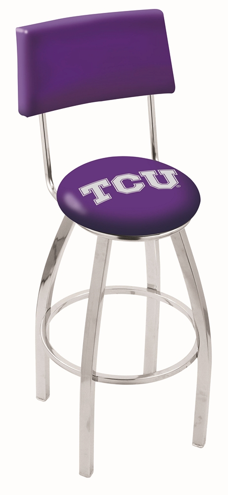 """Texas Christian Horned Frogs (L8C4) 25"""""""" Tall Logo Bar Stool by Holland Bar Stool Company (with Single Ring Swivel Chrome Solid Welded Base and Chair Seat Back)"""" HBS-HBS25L8C4-TEXASCHRISTIANUNIVERSITY"""