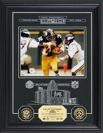 """Franco Harris Hall of Fame Archival Etched Glass 6"""" x 9"""" Framed Photograph and Medallion Set"""