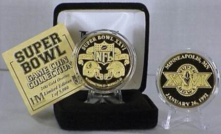 24KT Gold Super Bowl XXVI Flip Coin from The Highland Mint