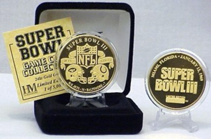 24KT Gold Super Bowl III Flip Coin from The Highland Mint HLM-12-SB3FGMK