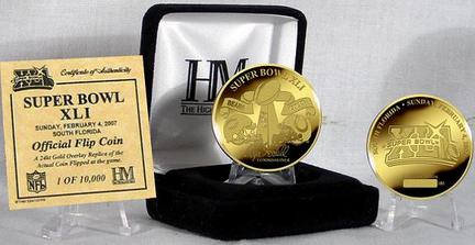 24KT Gold Super Bowl XLI Flip Coin from The Highland Mint