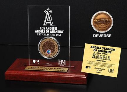 Los Angeles Angels of Anaheim Stadium Infield Dirt Bronze Coin in a Etched Acrylic Desktop Display from The Highland Min